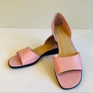Lifestride d'Orsay Open Toe Pink Leather Flat
